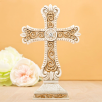 Ivory & Matte Gold Poly Resin Cross Statue